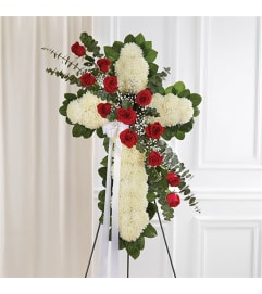Sympathy Standing Cross Peace & Prayers Red & White