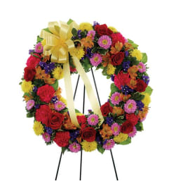 Sympathy Multi Color Standing Wreath