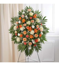 Sympathy Peach, Orange & White Standing Spray
