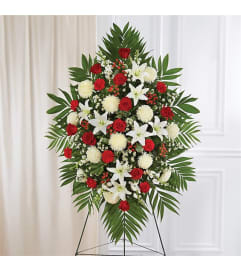 Sympathy Red & White Standing Spray