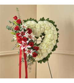 Sympathy Red Rose & Lily Standing Open Heart
