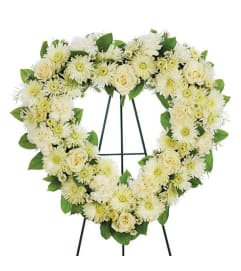 Sympathy Heart Standing Spray All White