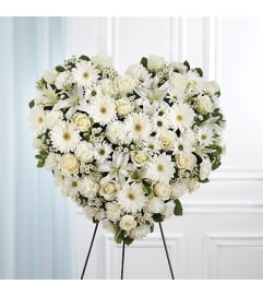 Sympathy All White Mixed Flower Solid Heart Standing