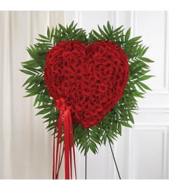 Sympathy Red Rose Bleeding Heart Solid Heart Standing