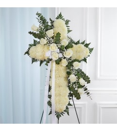 Sympathy Peace & Prayers Standing Cross All White