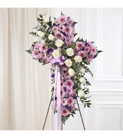 Sympathy Peace & Prayers Standing Cross Lavender