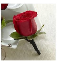 Red Rose Boutonniere no filler