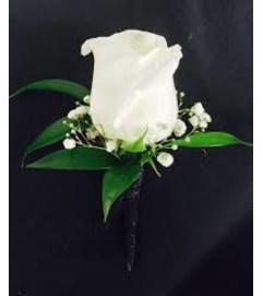 White Rose Boutonniere w/filler
