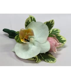 White Orchid & Pink Rose Corsage/Boutonniere