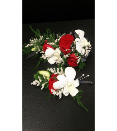Designer's Choice Corsage and Bout set. Red and white