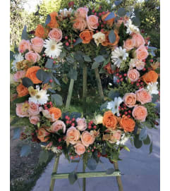 A Sympathy Wreath in Orange/Peace