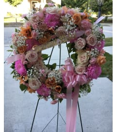 A Sympathy Wreath in Rich Pastels