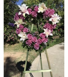 A Sympathy  Purple Rose Wreath