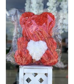 Medium Red Rose Bear (With White Heart)