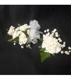 White carnation corsage and boutonniere Set