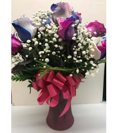 Specialty Roses - One Dozen Colorful Love Arrangement