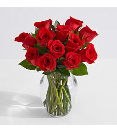 Dozen Assorted Short Roses in a vase
