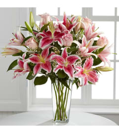 All Pink Casablanca Lilies and Roses Arrangement