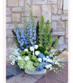 Sympathy Basket in Blue, Green and White