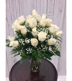 24 White Rose Bouquet