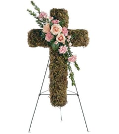 Pink Cross Standing Spray