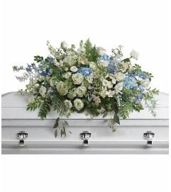 Tender Remembrance Blue Casket Spray