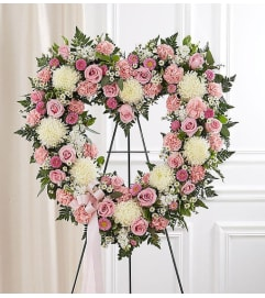 Open Heart Wreath-Pink & White