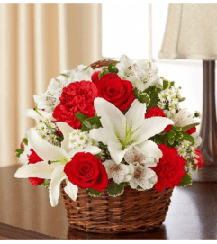 Basket Arrangement-Red & White