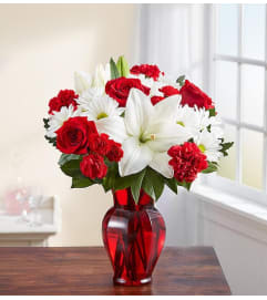 Vase Arrangement-Red & White