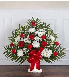 Floor Basket-Red & White