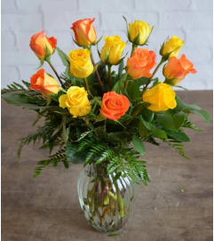 1 Dozen Orange & Yellow Roses