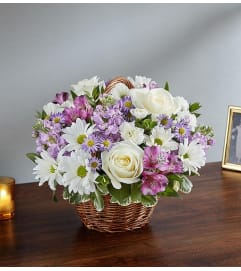 Basket Arrangement-Lavender & White