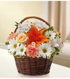 Basket Arrangement-Orange/Peach & White