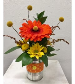 Gerbera and Craspedia Can