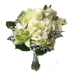 White Mixed Hand Tied Bouquet *PLEASE CALL TO ORDER*