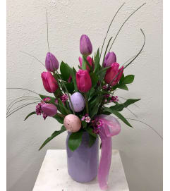 Easter Tulips in Vintage Jar