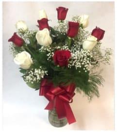 Red & White Rose Arrangement