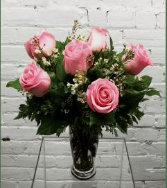 Pink Roses-1/2 Dozen