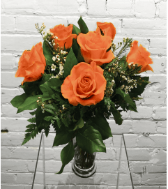 Orange/Peach Roses-1/2 Dozen
