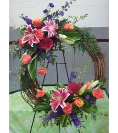 Grapevine Wreath with Fresh Flowers