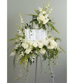 White Standing Spray with Bible