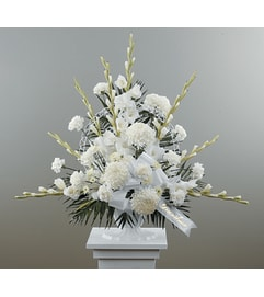Traditional Funeral Spay with Gladiolus and Football Pompons