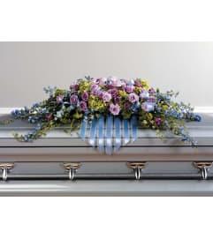 Delphinium  and Lavender Rose Casket Spary