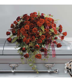 Red and Burgundy Rose Casket Spray