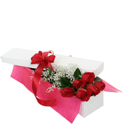 Six Red Roses in a Gift Box-2019