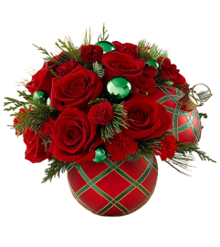 Red and Green Christmas Greeting Bouquet