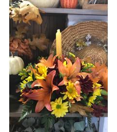 Autumn lilies centerpiece beauty