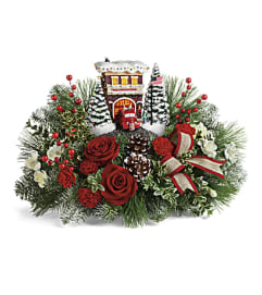 The Thomas Kinkade's Festive Fire Station Bouquet