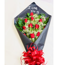 Dozen Roses with short MESSAGE on Paper