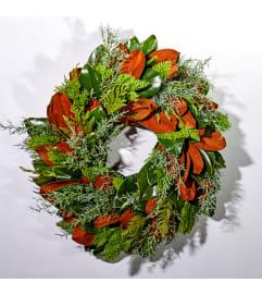 Fresh Magnolia and Christmas greens Wreath